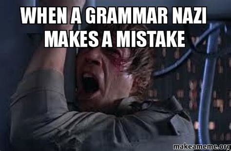 Grammer Nazi Meme - when a grammar nazi makes a mistake make a meme