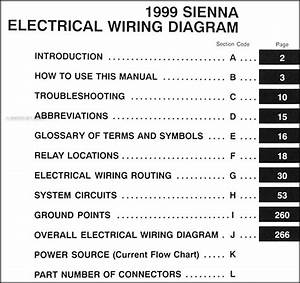 1999 Toyota Sienna Van Wiring Diagram Manual Original