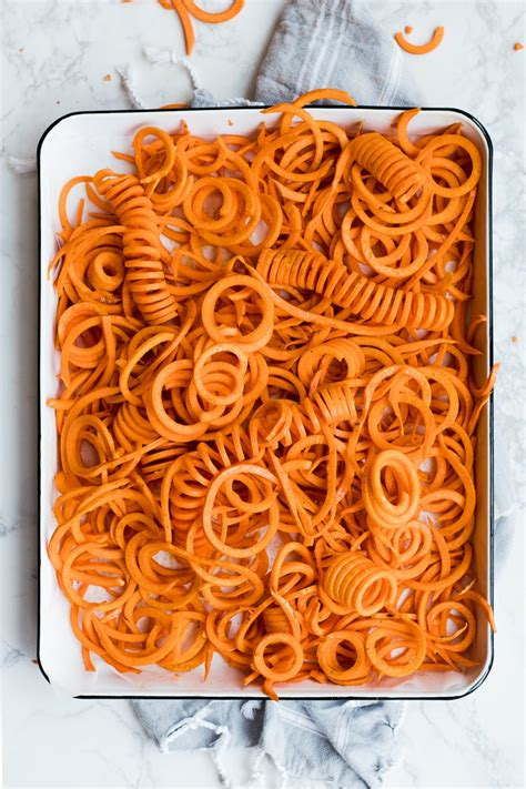 baked curly sweet potatoes   delicioso