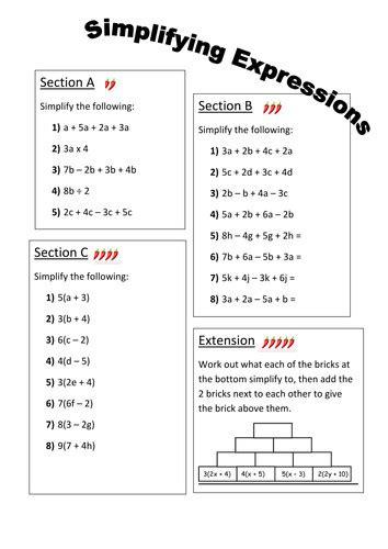 Simplifying Algebraic Expressions Worksheet Homeschooldressagecom
