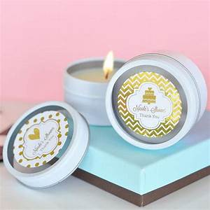 custom printed metallic foil label round candle tin favors With candle personalized labels