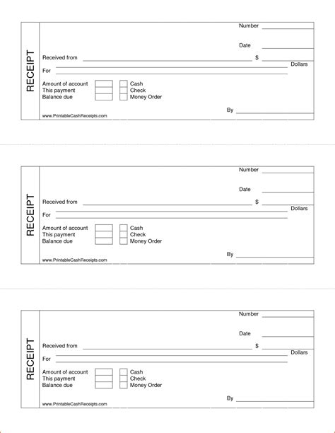 Printable Receipt Template by 7 Printable Receipt Bookletemplate Org