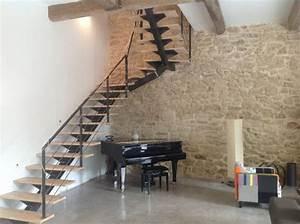 Escalier Metal Et Bois : escalier m tal bois limon central dans l 39 h rault ~ Dailycaller-alerts.com Idées de Décoration