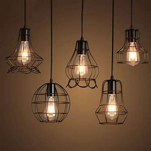 Klemon Metal Wire Cage Hanging Lamp