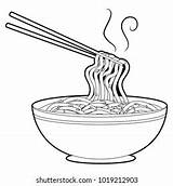 Noodles Coloring Soup Shutterstock Chopsticks sketch template