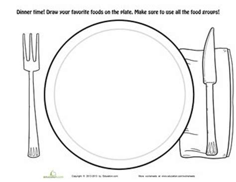 dinner plate worksheet educationcom food pyramid