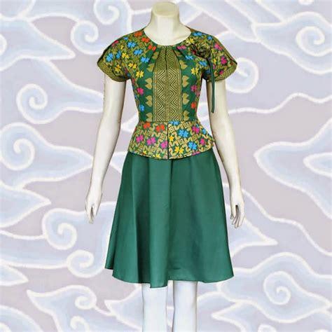 model dress batik kombinasi brokat lace  polos baju