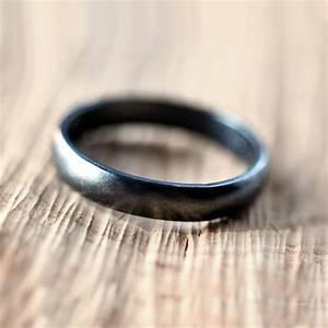 black silver wedding band brushed men39s or women39s unisex With black silver wedding rings