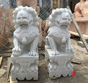 Mascot Statue Hand Caved White Marble Chinese Lion Foo Dog ...