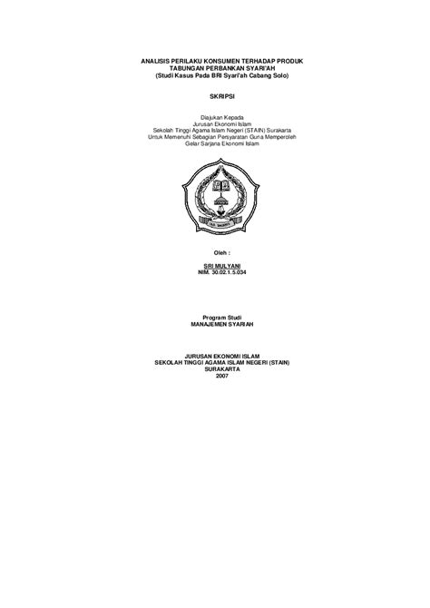 (PDF) ANALISIS PERILAKU KONSUMEN TERHADAP PRODUK TABUNGAN