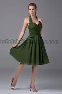 Rihanna Chart History Cheap Short Halter Dark Green Bridesmaid Cocktail Dresses