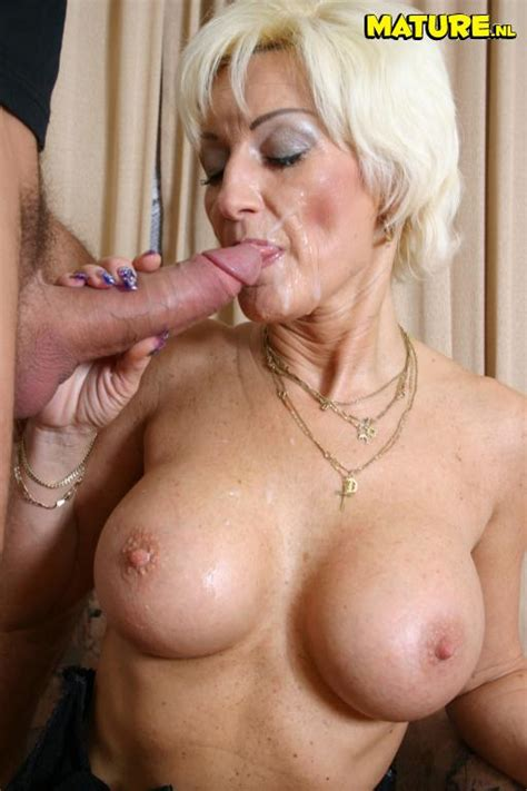 this mature slut takes a load in her face