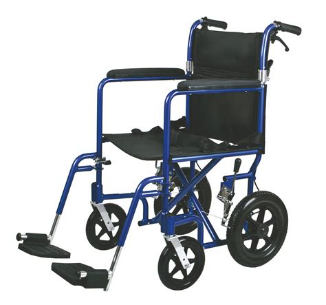 transport chair or wheelchair deluxe aluminum transport wheelchair 19in blue