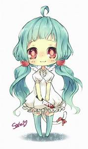 chibi girl with blue hair, cute and a little creepy ...