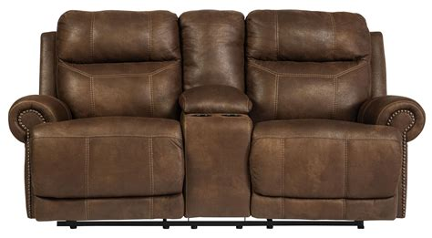 loveseat recliner with console austere brown reclining loveseat with console from
