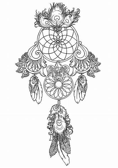 Stress Anti Zen Coloring Dreamcatcher Mandala Pages