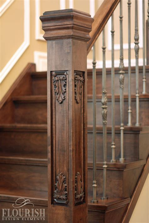 newel post collection flora fauna style acanthus