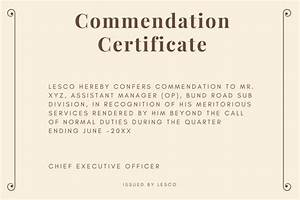 Commendation certificate sample and wording semiofficecom for Certificate of commendation usmc template