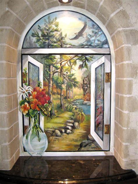 Niche With Mural And Faux Stone Surround  Fine Art, Murals