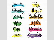 Set Of Labels Of The Months Of The Year stock vector art