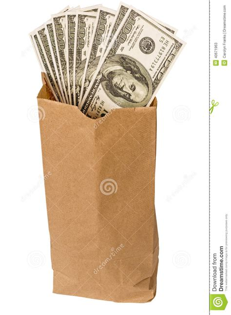 brown bag full  money isolated  white stock image image  disposable dollars