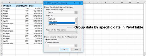 month excel date pivot table dates grouping quarter specific function