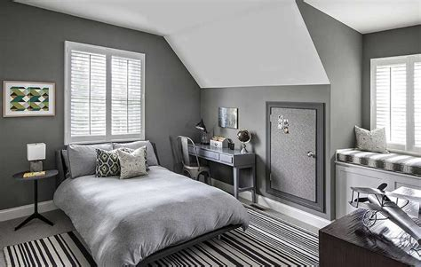 Gray Boys Bedroom With Black Bunk Beds