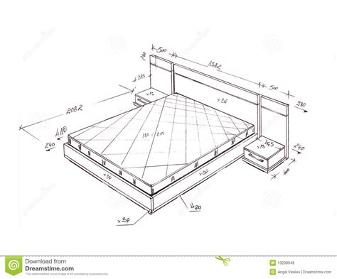 Standard Master Bedroom Size by Modern Interior Design Bed Freehand Drawing Stock