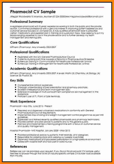 Resume Format For Pharmacist by 6 Cv Pharmacy Student Theorynpractice