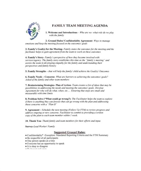 Collection of most popular forms in a given sphere. Family Meeting Agenda Template - 8+ Free Word, PDF ...