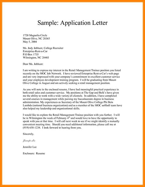 6 exles of application letters for attachment points