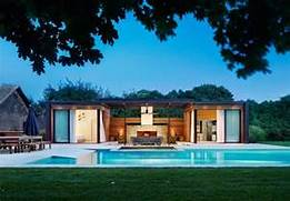 Modern Houses With Pool Is Scaled Proportionately To The Length Of The Rectangular Pool