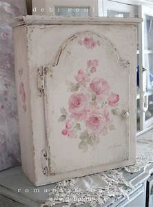 Shabby romantic vintage roses cabinet debi coules for Best brand of paint for kitchen cabinets with shabby chic canvas wall art
