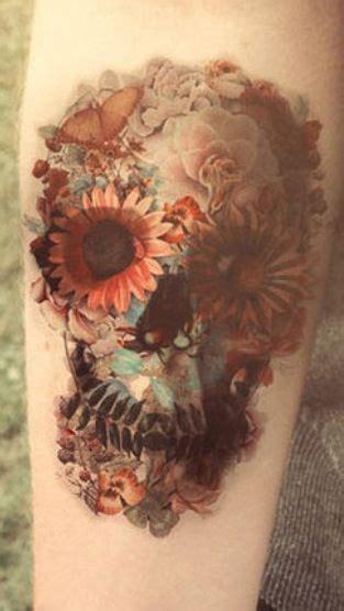 floral sugar skull tattoo tattoos piercings pinterest beautiful  beautiful  tat