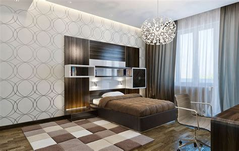 trendy bedrooms  geometric wallpaper designs home