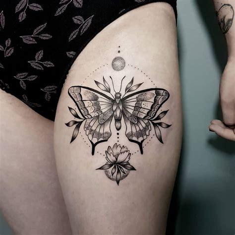 butterfly  flower tattoo   thigh tattoogridnet