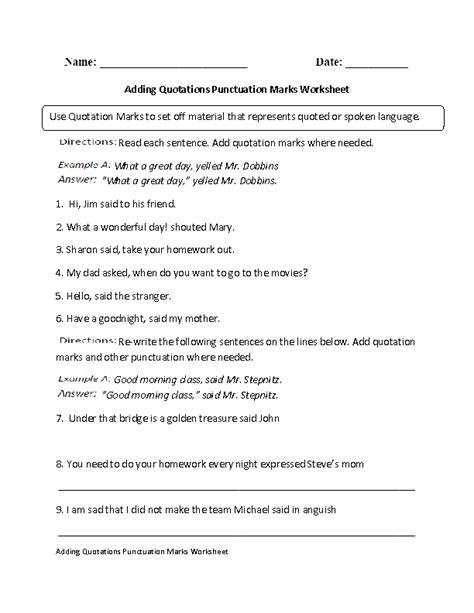 Englishlinxcom  Punctuation Worksheets
