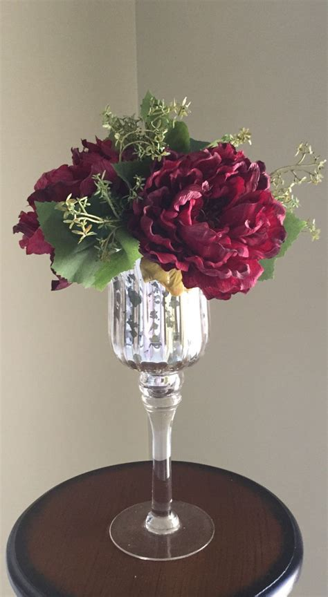 Burgundy Glass Vase by Burgundy Peonies In A Mercury Glass Candlestick