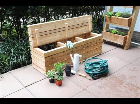 plans build  modern outdoor storage bench youtube