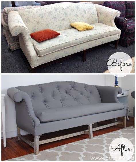 Reupholstered Sofa coral and mint living room reveal clutter