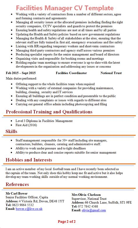 Facility Manager Resume by Facilities Manager Cv Template 2