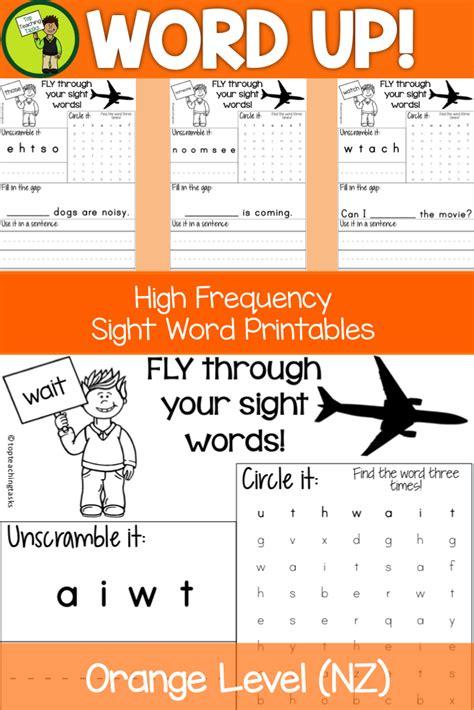 new zealand sight words orange level activity sheets