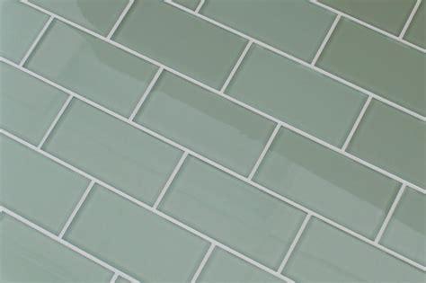 Sage Light Green 3x6 Glass Subway Tiles For Kitchen