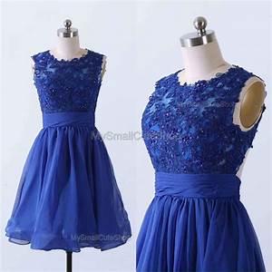 Royal Blue Prom Dress,Chiffon Bridesmaid Dress,Lace