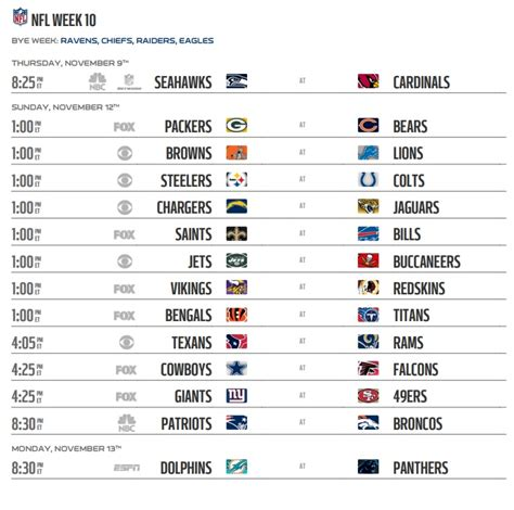 Nfl 2017 Schedule Week 10 Regular Season