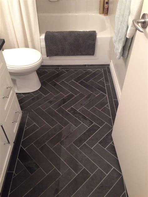 Floor Tile Ideas For Small Bathrooms by Gray Herringbone Bathroom Floor Tile Bathroom Decor
