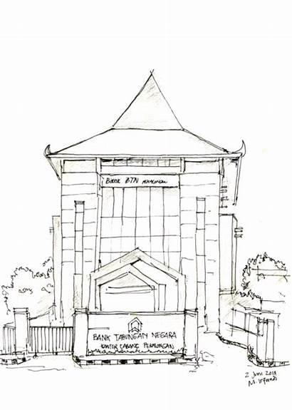 Kantor Gedung Tabungan Bank Urban Sketching Sketsa