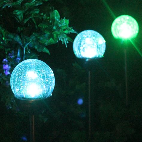 crackle glass solar color changing white led stainless