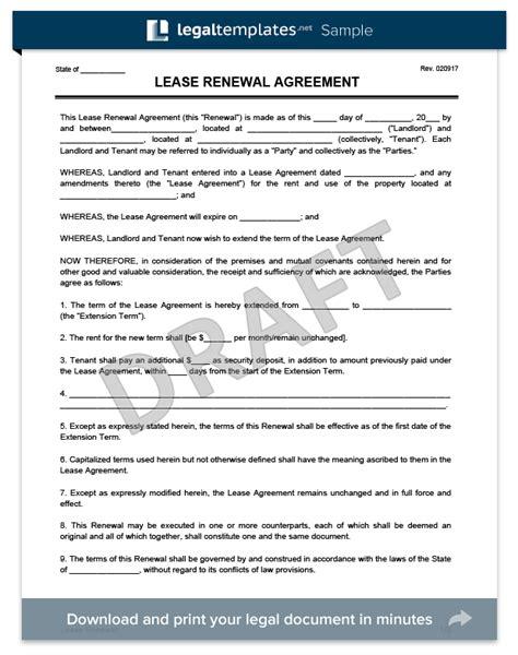 create   lease renewal  print legal