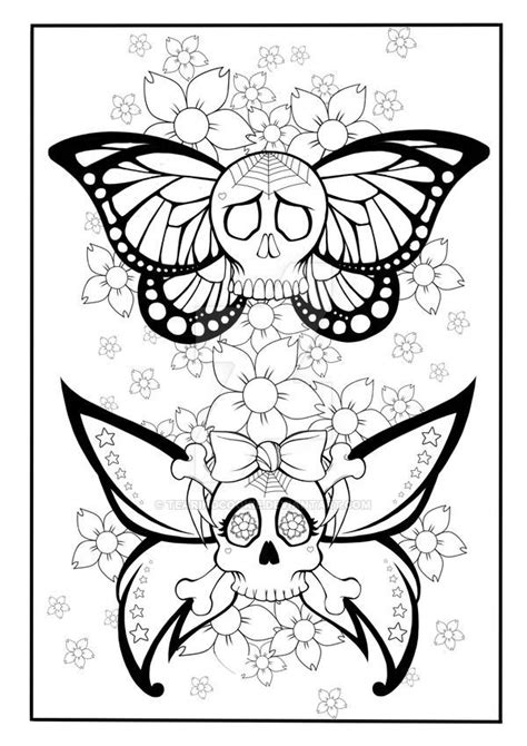 Skull Butterfly Coloring Page by TearingCookie on